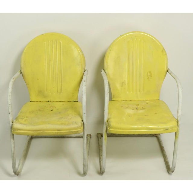Metal Lawn Garden Patio Chairs By Shott, Vintage Metal Outdoor Chairs