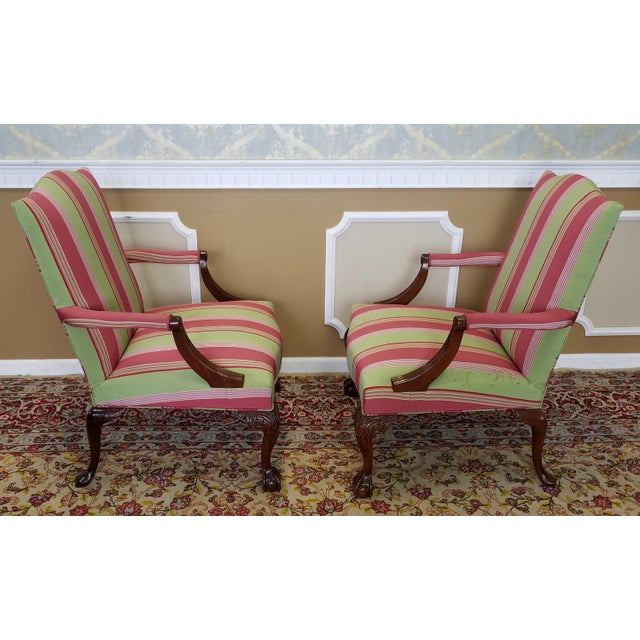 Red Martha Washington Mahogany Chippendale Style Southwood Furniture Gainsborough Armchairs - A Pair For Sale - Image 8 of 10