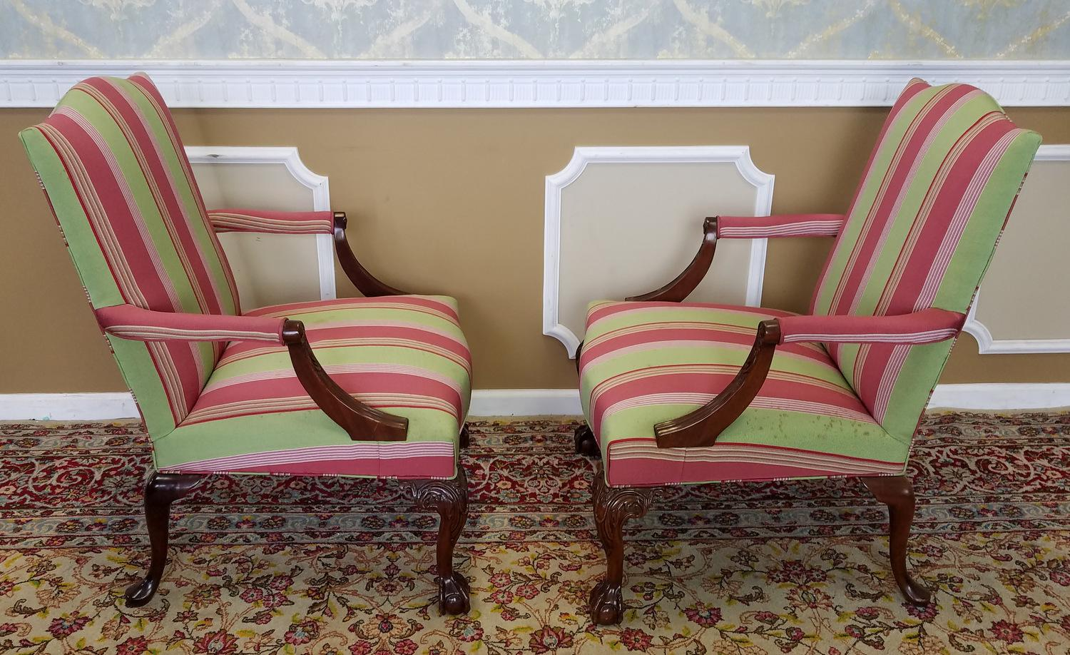 Delicieux Martha Washington Mahogany Chippendale Style Southwood Furniture  Gainsborough Armchairs   A Pair   Image 8 Of