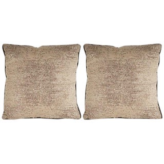 Pair of Modernist Pillows with Dark Chocolate Piping and Stylized Lizard Print For Sale