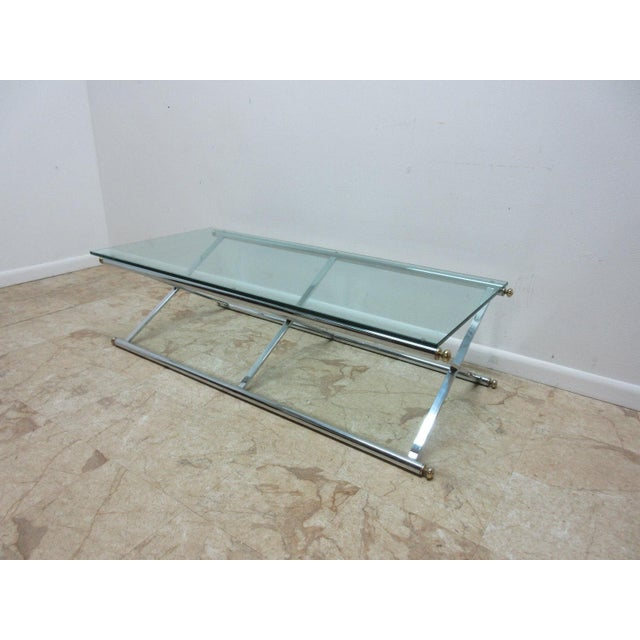 Long Vintage MidCentury Regency Campaign X Base Chrome Glass Top - Chrome base glass top coffee table