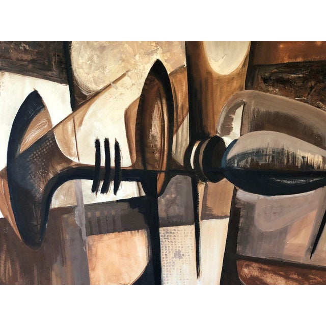 Black Vintage 1960s Abstract Cubist Shapes Oil Painting For Sale - Image 8 of 10
