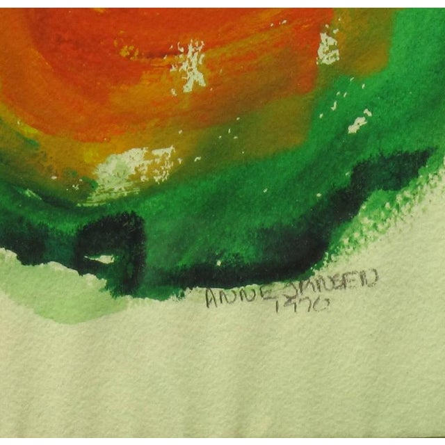 Acrylic Anne Jansen Water Color and Ink Abstract Painting, circa 1970 For Sale - Image 7 of 7