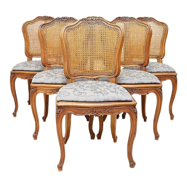 French Country Caned Dining Chairs, Set of 6 - Image 1 of 5