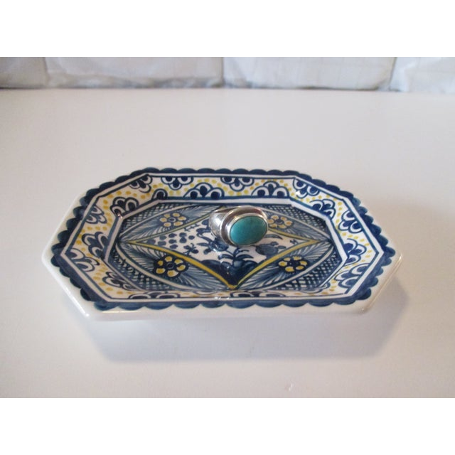 Vintage Porcelain Portuguese Trinket Dish In shades of blue and white Stamped USA, 1980's Size: 5 x 4 x 1