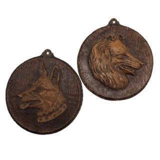 Vintage Syroco Ornawood Collie and Shepherd Dog Portrait Wall Plaques - a Pair For Sale