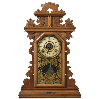 Antique E. Ingraham 'Pansy' Kitchen/Gingerbread Clock For Sale