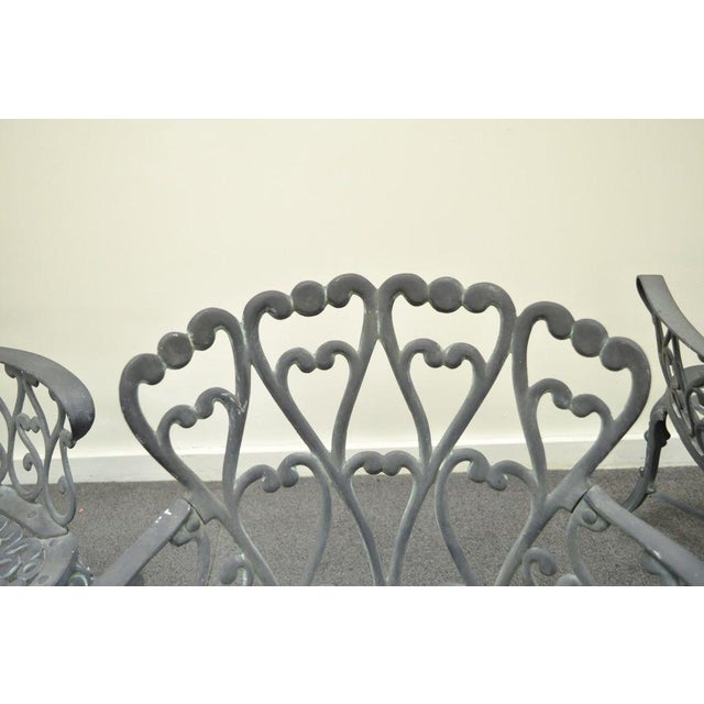 Vintage Cast Aluminum Heart Back French Style Patio Chairs - Set of 4 For Sale In Philadelphia - Image 6 of 11