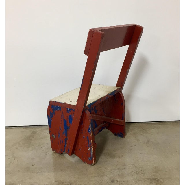1950s Vintage Rustic Child's Chair For Sale - Image 4 of 8