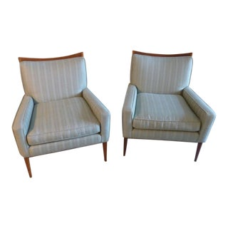 1950s Vintage Paul McCobb for Directional Wood Frame Lounge Chairs - A Pair