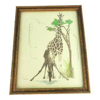 1970s William Tara Giraffe Print For Sale