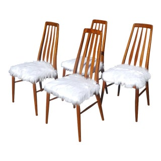 Koefoeds Hornslet Danish Mid-Century Teak Faux Fur Eva Dining Chairs - Set of 4