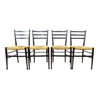 Set of Four Italian Ponti-Style Ebonized Wood Side Chairs With Rush Seats, 1960s For Sale