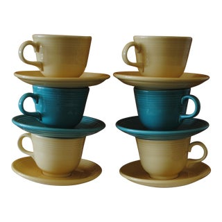 Vintage Fiestaware Cups Saucers Sea Mist Green and Yellow - Set of 6 For Sale