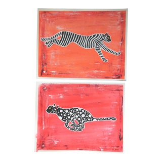 Chinoiserie Tiger Leopard Pair of Paintings by Cleo Plowden For Sale