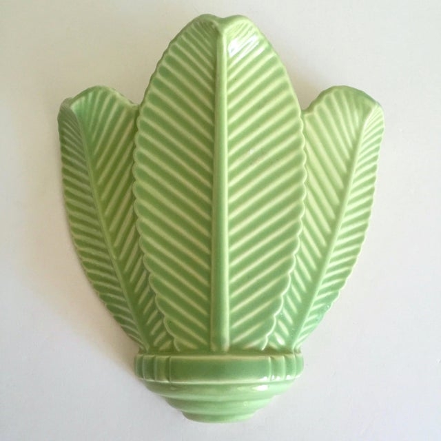Vintage Mid Century Art Deco Pistachio Mint Green Art Pottery Palm Leaf Ceramic Wall Pocket Vase For Sale - Image 13 of 13