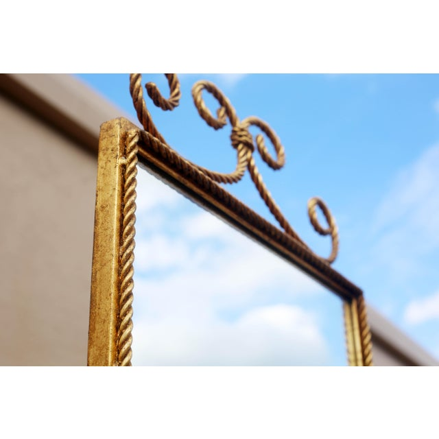 Vintage Gold Gilt Wrought Iron Rope Floor Mirror - Made in Italy For Sale - Image 10 of 11
