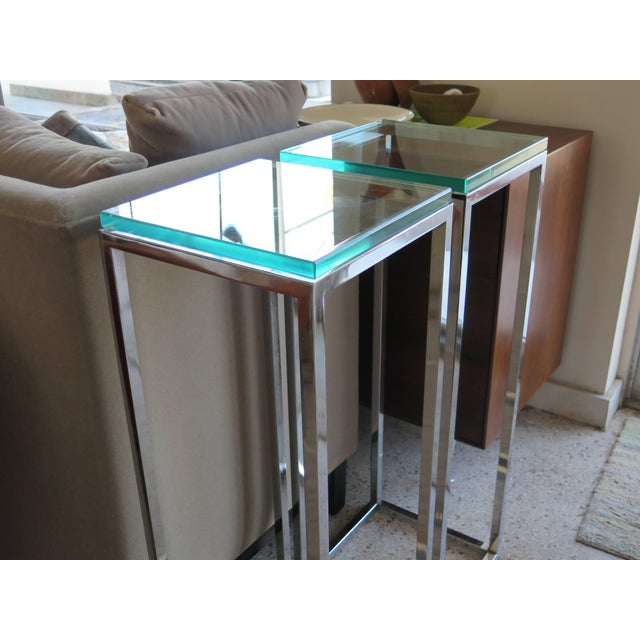 1970s Modern Tall Chrome Pedestal Tables - a Pair For Sale In Tampa - Image 6 of 8