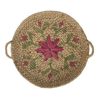 Large Boho Coil Grass Woven Basket or Tray with Green and Pink Accents For Sale