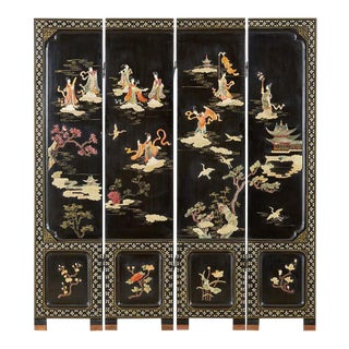 Chinese Export Four-Panel Carved Soapstone Coromandel Screen For Sale