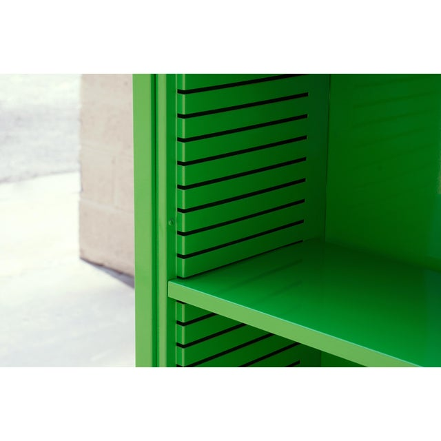 Not Yet Made - Made To Order 1970s Tall Steel Tanker Bookcase, Refinished in Lime Green, Custom Order For Sale - Image 5 of 5