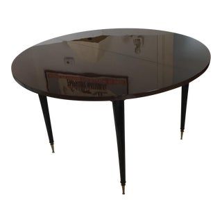 "French 1930s-1940s Art Deco Round Breakfast Table Expands to 86"" Dining Table For Sale"