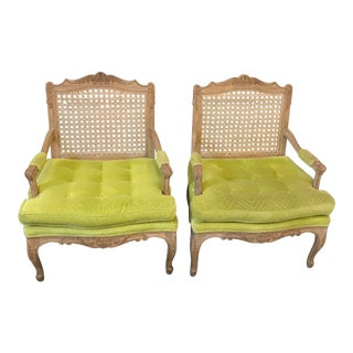 Hollywood Regency Chartreuse French Caned BergerChairs a Pair For Sale