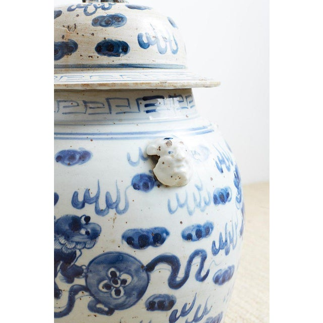Mid 20th Century Pair of Chinese Blue and White Ginger Jars and Foo Dogs For Sale - Image 5 of 13