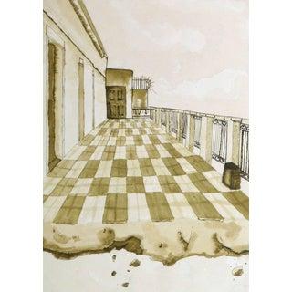 Aida Correa, Surrealist Ink Wash- Fin De Paseo For Sale