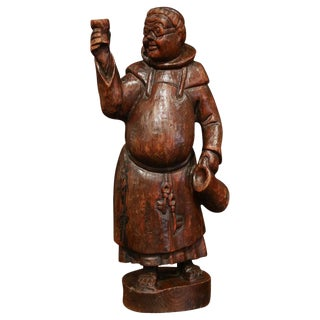 "19th Century French Hand Carved Pine ""Drinking Monk"" Statue For Sale"