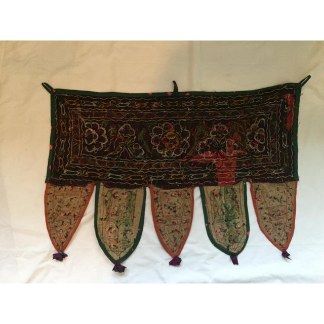Red Indian Embroidered Mirror Valance For Sale - Image 8 of 9