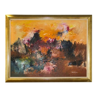 Abstract Textured Deep Desert Colors Oil Painting on Canvas by Ralph Rosenberg For Sale