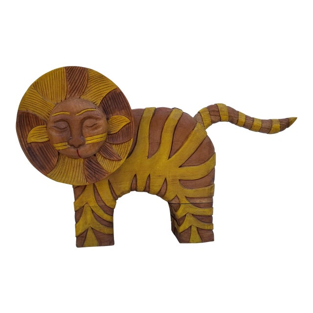 Guido Gambone Style Sun Lion Sculpture For Sale