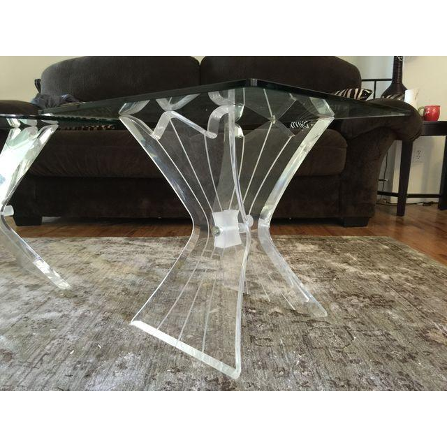 Mid-Century Modern Mid-Century Lucite and Glass Side Tables - A Pair For Sale - Image 3 of 7