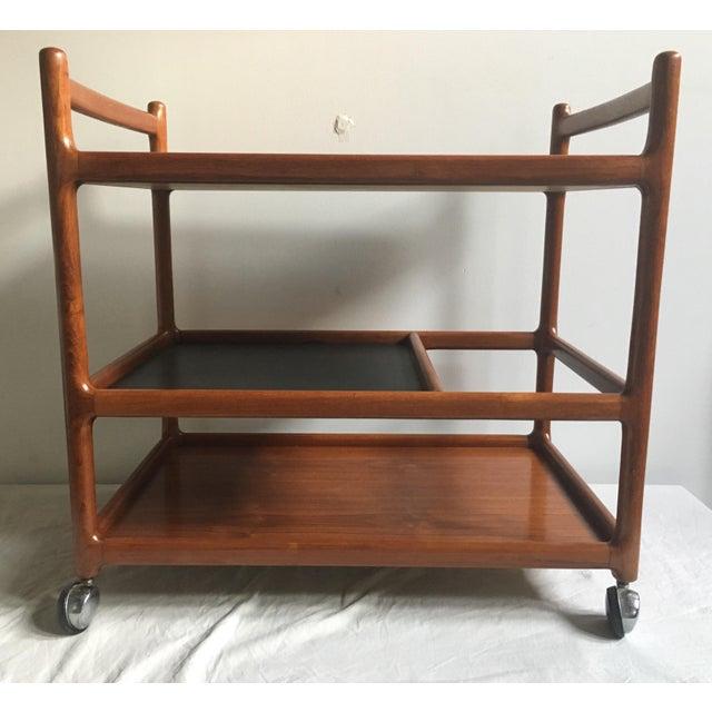 Johannes Andersen Mid-Century Solid Teak Bar Cart For Sale - Image 9 of 11