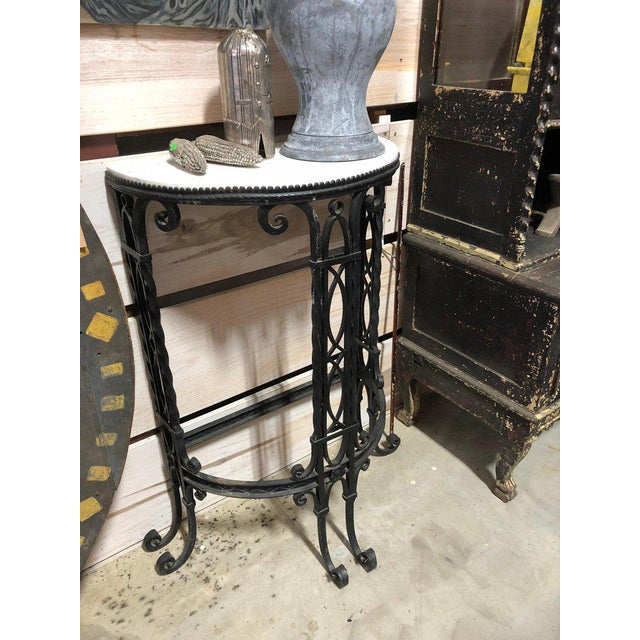 19th Century French Demilune Iron and Marble Tables - a Pair For Sale - Image 6 of 9