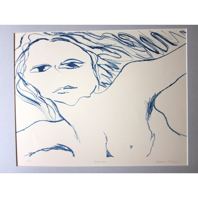 """Contemporary 1970s Vintage Suzanne Peters """"Swimmer"""" Nude Stone Lithograph For Sale - Image 3 of 10"""