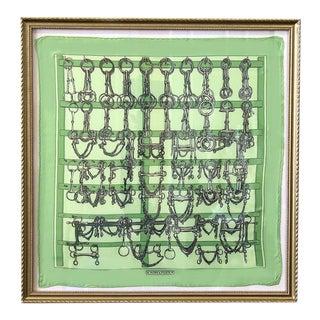 1960s Hermès Vintage Mors Et Filets Jade Pocket Square, Framed For Sale