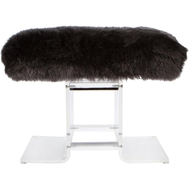 Glamorous lucite bench, circa late 1980's. Newly upholstered in charcoal grey fur.