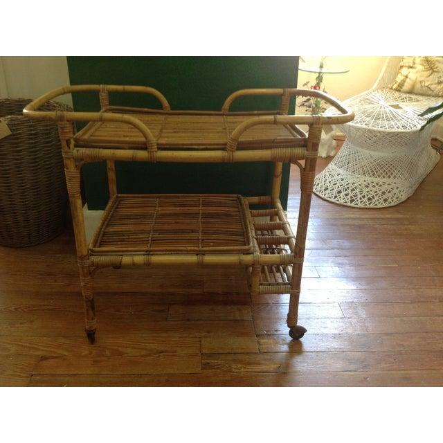 Vintage Rattan Bar Cart - Image 2 of 5