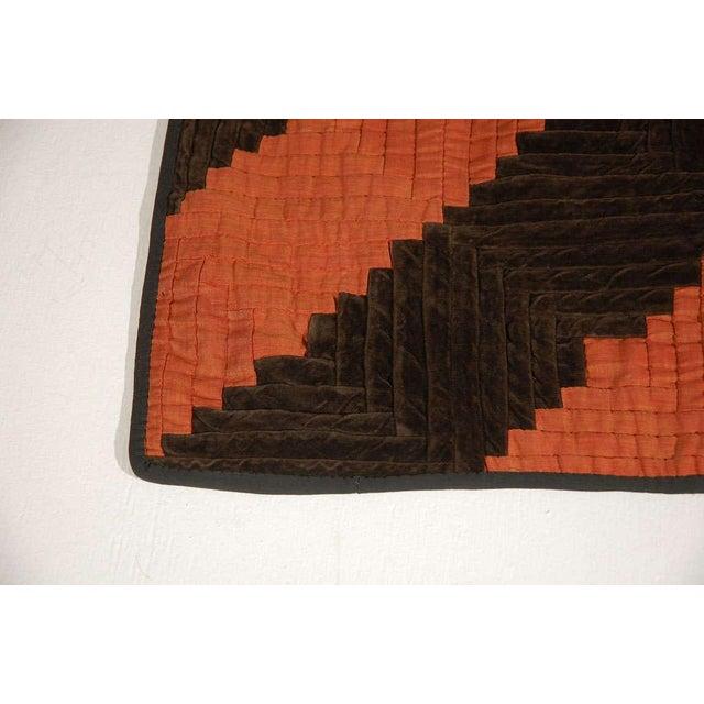 Fantastic 19thc Wool & Velvet Log Cabin Quilt - Image 5 of 7