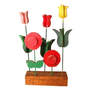 1950s Folk Art Coloful Wooden Flower Display