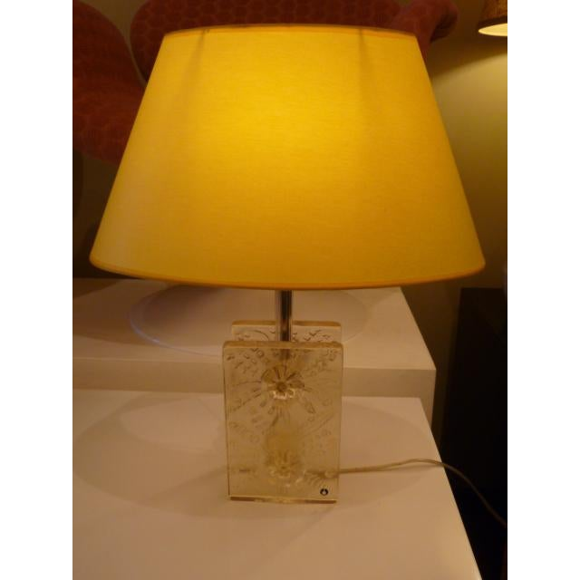 Scandinavian Modern Ice Glass Table Lamp by Pukeberg, Sweden 1960s For Sale - Image 11 of 12