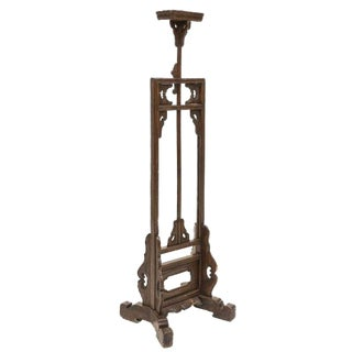 19th Century Antique Chinese Hardwood Adjustable Lamp Stand For Sale