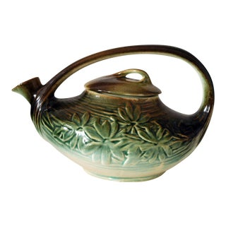 1940s McCoy Green and Brown Pottery Daisy Teapot For Sale