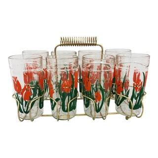 Vintage Cocktail Glasses & Caddy Set For Sale