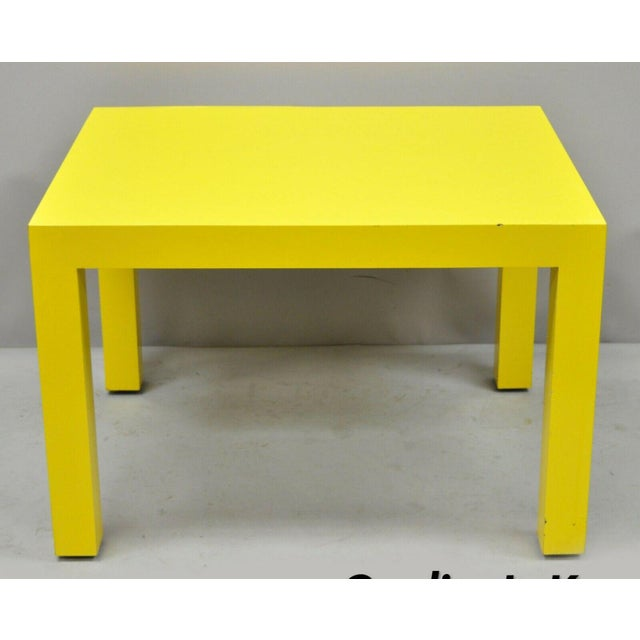 1970s Contemporary Thayer Coggin Milo Baughman Yellow Parsons End Table For Sale - Image 11 of 11