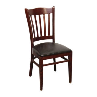 Wood & Black Vinyl Dining Chair by Alston Quality Industries For Sale