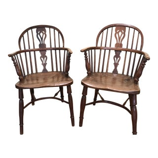 Late 18th Century George III Hand-Turned Windsor Chairs- A Pair For Sale