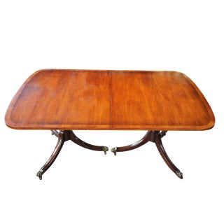 20th Century Traditional Kittinger Banded Mahogany Dining Table For Sale